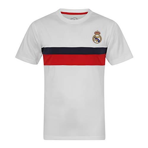 Real Madrid - Camiseta Oficial para Entrenamiento - para Hombre - Poliéster - Blanco - Franja roja - Grande