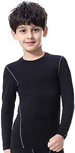 Bwiv Camiseta Térmica Interior Niños Camiseta Deporte Manga Larga de Compresión Ropa Interior Polar Niño Secado Rápido Transpirable Invierno Esquí(S120, Negro Grís)