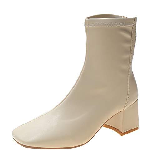 Botas de Tobillo para Las Mujer con Estilo con el talón otoño Invierno de la Puntera Cuadrada Botas de Cuero...