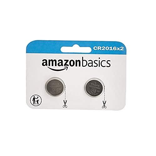 Amazon Basics - Confezione da 2 batterie a bottone, al litio CR2016