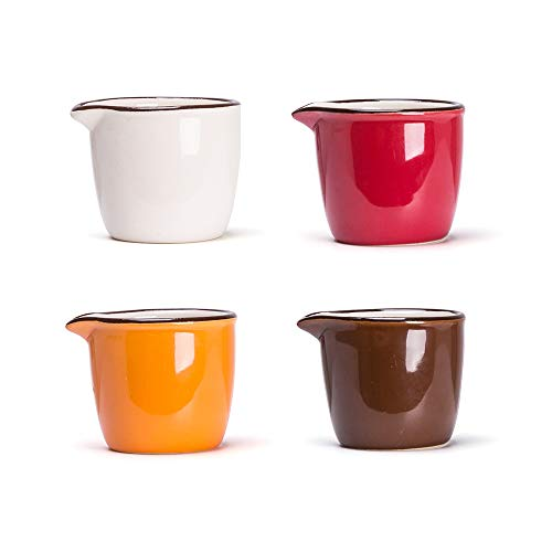 MDZF SWEET HOME Set of 4 Ceramic Creamer Jugs Mini Sauce Pitcher Milk Creamer Coffee Syrup Jar Server Dipping Bowls 2.1 Oz, Four Color