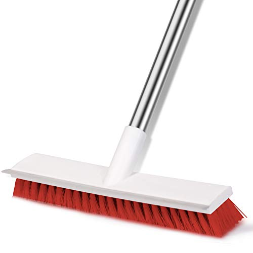 JIGA Shower Cleaning Scrubber Brush, Floor Scrub Brush with Long Handle, Stiff Bristles Cleaning Brush for Deck, Grout Tile Floor, Bathroom, Kitchen, Patio and Garages, Red