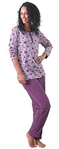 Damen Frottee Pyjama Schlafanzug –Sterne als Motiv - auch in Übergrößen bis Gr. 60/62, Farbe:Beere, Größe2:36/38