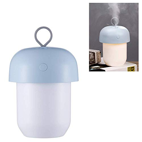 XJ0526 Mini Humidifier,Air Atomizer,Polymer Water Mist+Mute+Warm Light Night Light,Prevent Dry Burning Protection,Best for Small Guest Room,Car,300Ml,Blue