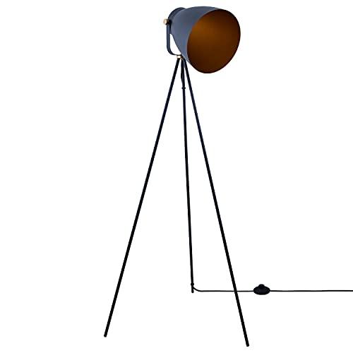 Paco Home Luminaria Pie Moderna Salón Luminaria Suspensión Luminaria Pie Colgante Comedor Estilo Industrial Diseño Focos E27, Color:Antracita-Oro, Tipo de lámpara:Lámpara de pie