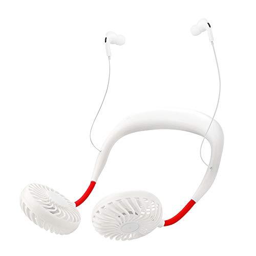 Fesjoy 2020 Nuevo, 2020 Nuevo Q6 BT Supreme Edition Ventilador Colgante de Cuello de Viento de 4 velocidades con Auriculares Micro USB Recargable USB para Oficina Deportes al Aire Libre Viajes en v