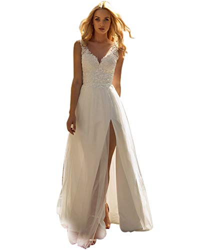Stylefun V-Neck Wedding Dresses for Bride 2021 Tulle A-Line Beach Long Bridal Gowms for Women with Slit White 14