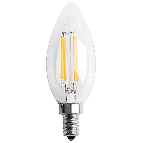 Baalaa Dimmable E12 4W COB Edison Candle Flame Filament LED Bombilla LáMpara 10X3.5Cm