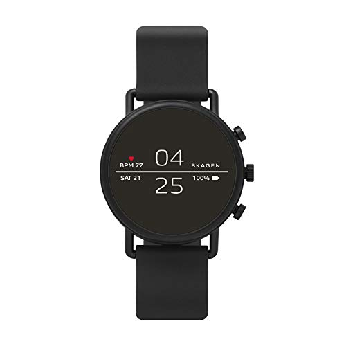 Skagen Connected Falster 2 Stainless Steel and Silicone Touchscreen Smartwatch, Color: Black...