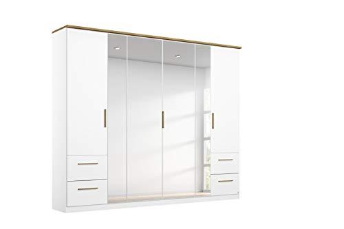 Rauch Möbel Carlsson Schrank Drehtürenschrank in Weiß, Griffe/Füße Eiche Massiv, 6-türig mit Spiegel und 4 Schubladen, inkl. Zubehörpaket Basic 3 Kleiderstangen, 3 Einlegeböden, BxHxT 226x212x58 cm