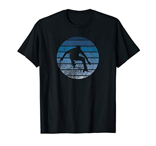 Cooler Retro Skaterboarder Skateboarding Skateboard Blau T-Shirt