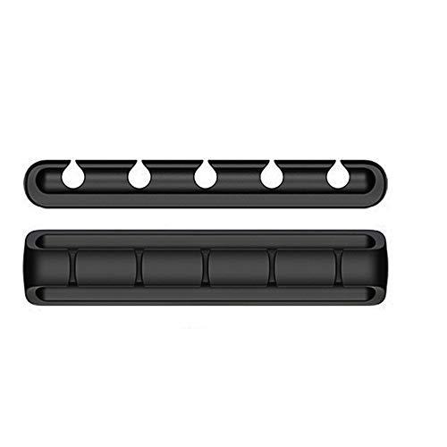 LICHAO Paquete de 3 Clips para Cables, Organizador, 5 Ranuras, de Silicona, Compacto, Multiusos, para Cables de Escritorio, Hebilla de fijación autoadhesiva 3M, para Oficina en casa, Mesa, Carga USB