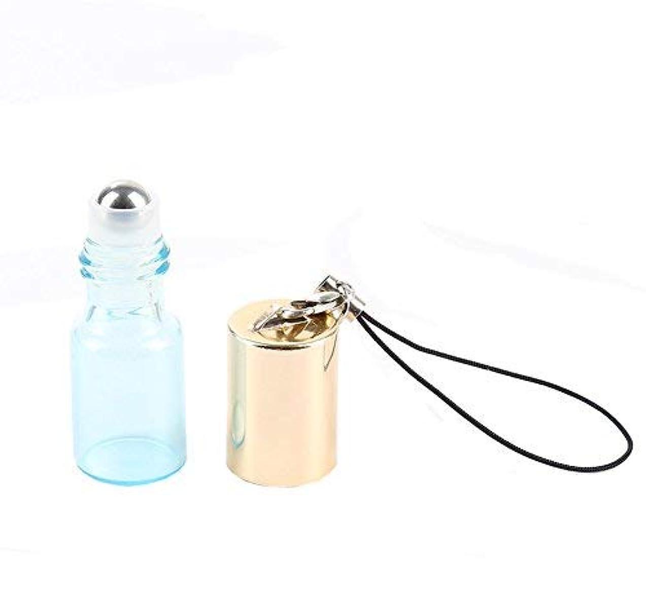 瞑想する偶然開始Empty Roller Bottles - Pack of 12 3ml Pearl Colored Glass Roll-on Bottles for Essential Oil Container with Golden Hanging Lids and 1Pc 3ml Droppers Included (Blue) [並行輸入品]