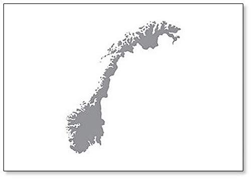 Imán para nevera con diseño de mapa de Noruega (gris)