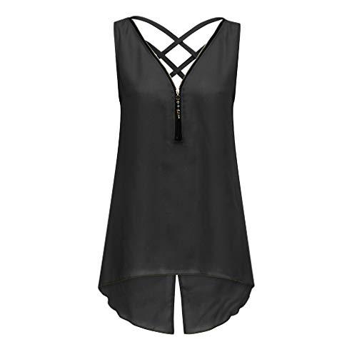 KIMODO Tank Tops Damen Unregelmäßiger Saum mit Reißverschluss und V-Ausschnitt, Sommer Camisole Bluse Ärmellos T Shirt, Zurück Criss Cross Weste