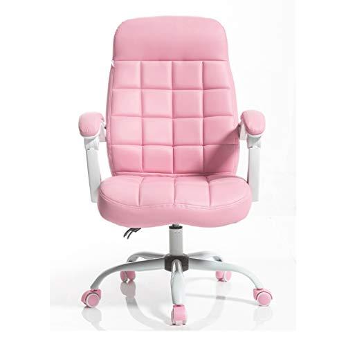 Xiix Chair Computer Sollevamento Sedia Regolabile in Pelle Schienale Schienale Alto Faux Gaming Sedia Girevole reclinabile Imbottito poggiapiedi Sedia (Color : Pink)