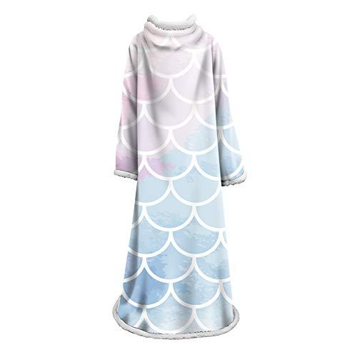 JDLAX Adultos y niños Hombre Perezoso Manta Escalas de Pescado 3D Impreso de algodón Fleece Manta Engrosada con Mangas, un tamaño para Hombres Mujeres Adolescentes 013
