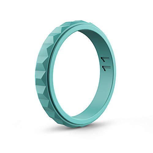 ASTERY Women Silicone Wedding Ring Band,Hypoallergenic Medical Grade Silicone,Durable,Stretched and Comfortable 100% Guarantee,9 Colors (Blue, 9-9.5(18.9mm))