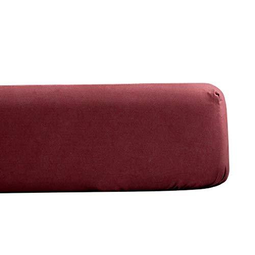 XIAKE Sábana bajera ajustable de microfibra suave, color rojo vino, 150 x 200 x 25 cm