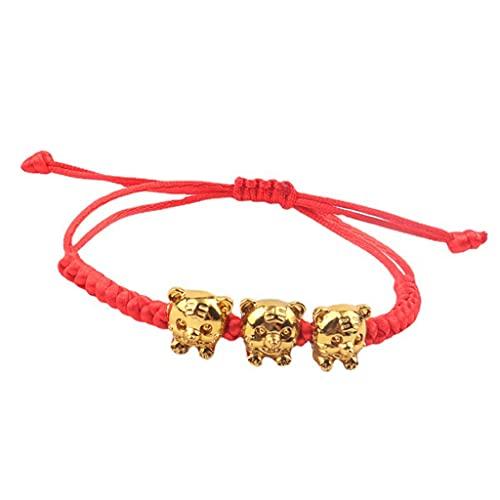 XIANZI Pulseras de la amistad, pulseras para parejas, pulsera Lucky Red Rope con signo del zodiaco bañado en oro, colgante de tigre, anudado a mano, pulsera ajustable para hombres y mujeres
