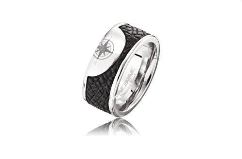 Save Brave Ring Havanna I Edelstahl IP beschichtet I Schwarz/Silber (66)