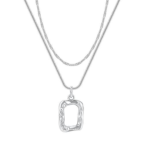 HDZW Collares delicados en Capas para Mujer, Gargantilla de Acero Inoxidable Chapado en Plata con Colgante geométrico, Collar apilable Personalizado, Collares delicados, joyería, Regalos
