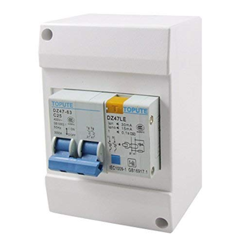 Viewsys Interruptor eléctrico 2P tierra del interruptor de fuga, interruptores diferenciales, AC, 400V, 25 amperios
