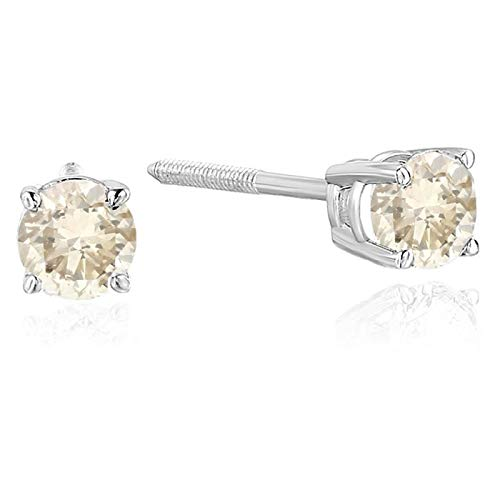 1/2 cttw 14K Champagne Diamond Stud Earrings White Gold with Screw Backs