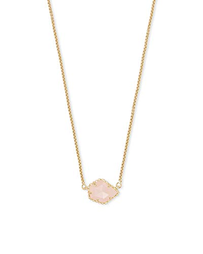 Kendra Scott Tess Small Pendant Necklace for Women, Dainty Fashion Jewelry, 14k Gold-Plated, Rose Quartz