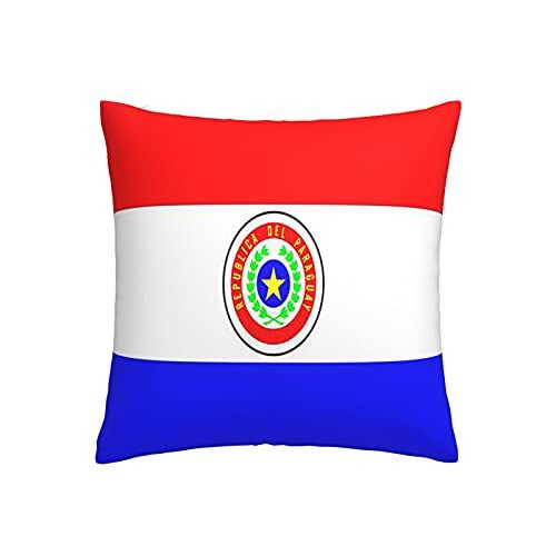 Paraguay-Flagge Kissenbezug, quadratisch, dekorativer Kissenbezug für Sofa, Couch, Zuhause, Schlafzimmer, Indoor Outdoor, niedlicher Kissenbezug 45,7 x 45,7 cm