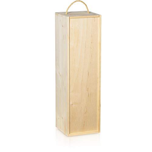Holzkiste mit Schiebedeckel und Seilgriff 1 Flasche 1,5L Sekt Magnum
