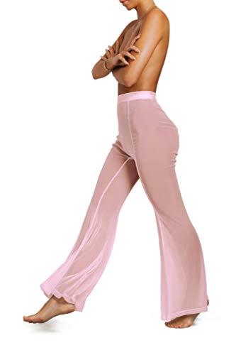 sofsy Rosa Transparente Strandhose Badeanzug Cover Up sexy Hosen für Damen Bademoden zum Überziehen Plus-Size XLarge