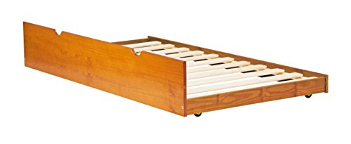 """Palace Imports 100% Solid Wood Twin Trundle On Wheels, Honey Pine Color, 13""""H x 41""""W x 74""""L, 12 Slats Included. Accommodates All Standard Twin Mattresses. Requires Assembly"""