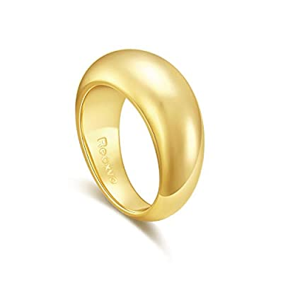 Amazon - Save 68%: Reoxvo 18K Gold Plated Thick Chunky Dome Rings for Women Girls (5-10 Size)