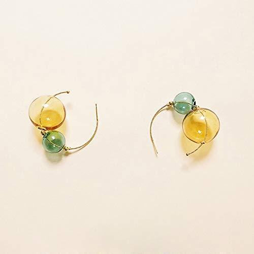 DFDLNL Conjuntos de Pendientes para Mujer Aros Pendientes de aro de Bola de Cristal Hechos a Mano para Mujer Pendientes de Burbuja Verde Amarillo Mujer Bijoux