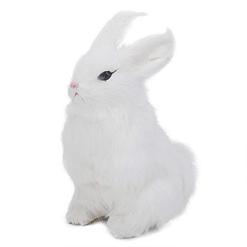 Duokon Mini Realistico Peluche Coniglio Realistico Animale Pasqua Casa Ornamento Simulazione Coniglio Modello Morbido Giocattolo Regalo(Bianco)