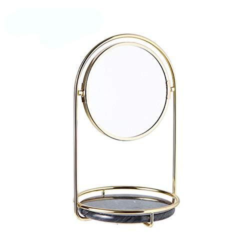 Jewelry Storage Organizer Vassoi Portaoggetti per Gioielli Stand Rack in Ferro Supporto da Tavolo in Marmo con Doppio Specchio di vanità per Camera da Letto Bagno