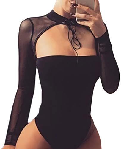 Velius Women Sexy Choker Bandage Strapless Long Sleeve Mesh Bodysuit Party Clubwear (Small, Black/Choker)