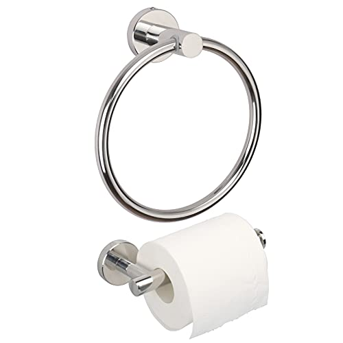 TocTen Bathroom Hardware Set- Toilet Paper Holder+Towel Ring 2 PCS Set, Toilet Paper Roll Holder/Hand Towel Holder Make of Thicken Stainless Steel Wall Mounted Bathroom Accessory Kit. (Chrome)