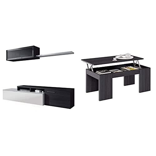Habitdesign Mueble De Salon, Comedor, Mueble Moderno + Mesa De Centro Elevable, Mesita De Salon Comedor, Modelo Kendra