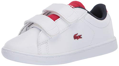Lacoste Unisex-Baby Carnaby EVO 120 2 SUI Sneaker, White/Red, 6 Medium US Toddler