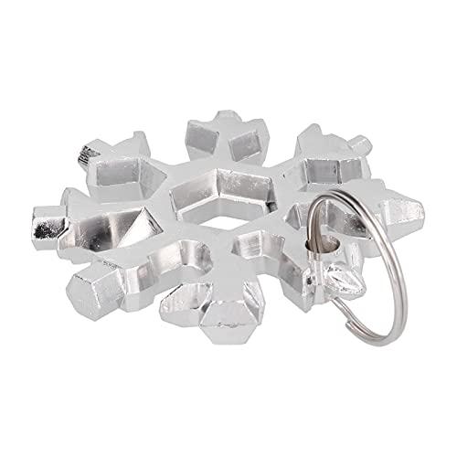 Llave de copo de nieve, destornillador multiherramienta portátil de acero inoxidable resistente al desgaste con llavero para exteriores(Plata)