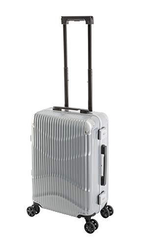 Travelhouse - New York Wave - Handgepäck-Koffer Bordkoffer Kabinentrolley Hartschalenkoffer S-55 cm Kratzfest Alu-Rahmen TSA-Schlösser Silber