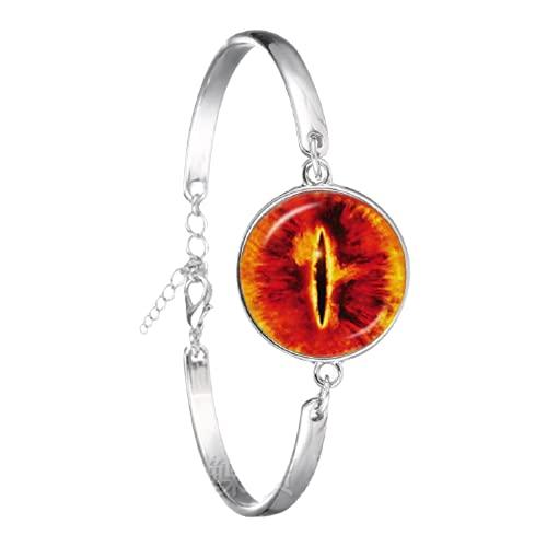 Pulsera de ojo de dragón con diseño de ojo de dragón y cabujón chapado en plata pulsera de moda para hombre