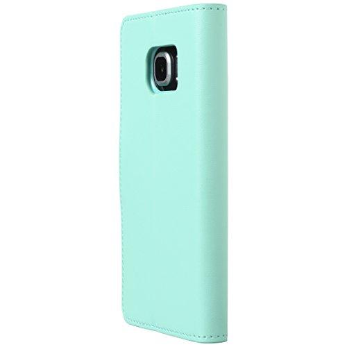 Ultratec Funda protectora de cuero sintético para Samsung S6 edge, con función de soporte y compartimentos interiores, verde