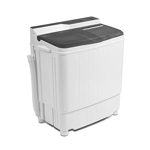 Portable Washing Machine, Compact Twin Tub Portable Mini Washing Machine, 17.6 LBS Washer and Dryer Combo with Soaking Function, Semi-Automatic for Apartment, Dorms, RVs, Camping (White & Gray)…
