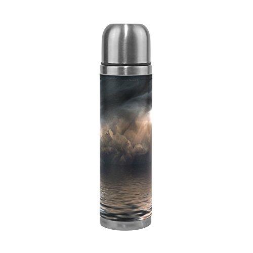 Eslifey Tornado and Lightning Over Sea - Borraccia termica in acciaio inox a tenuta stagna, 500 ml