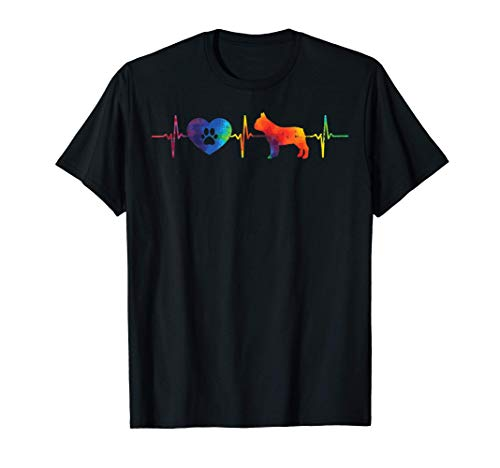 Heartbeat French Bulldog Tie Dye Frenchie Hippie Dog Gift T-Shirt