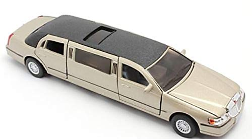 Jack Royal Kinsmart Die-Cast Metal 1999 Lincoln Town Limousine Car (Gold)