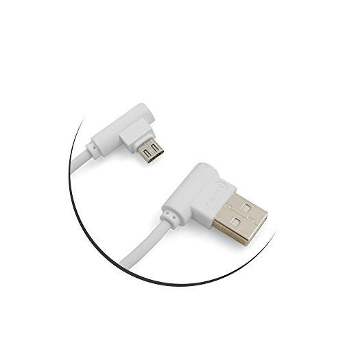 System-S Micro USB Kabel rechts gewinkelt zu USB 2.0 Typ A rechts Winkel 20 cm in Weiß